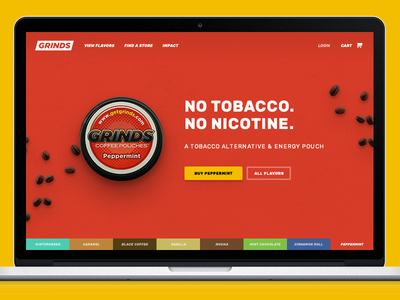 Grinds Energy Pouches Homepage Design slider flavor product hero carousel ecommerce design homepage pouches energy grinds