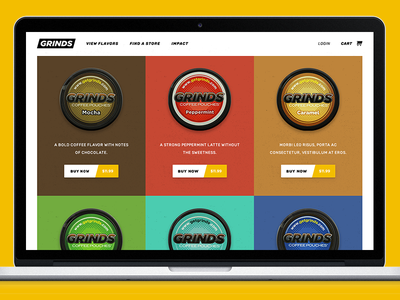 Grinds Energy Pouches Product Collection Design feature page cans flavors ecommerce design collection pouches energy grinds product