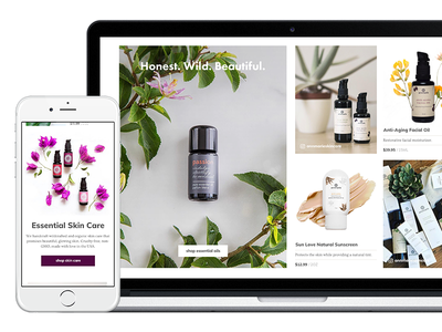 Ecommerce Collection and Product Features mobile desktop beauty skin care shop ecommerce ux design ui design homepage product collection shopify