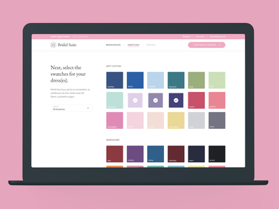 Bridal Suite: Color Selector experience design ux ux design ui ecommerce product design suite bridal