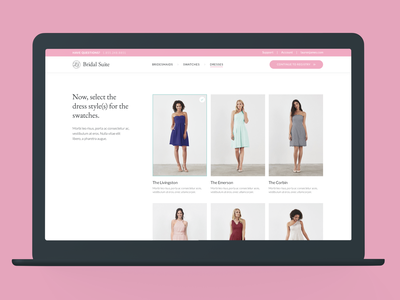 Bridal Suite: Dress Selector experience design commerce ux design ux ui ecommerce product design