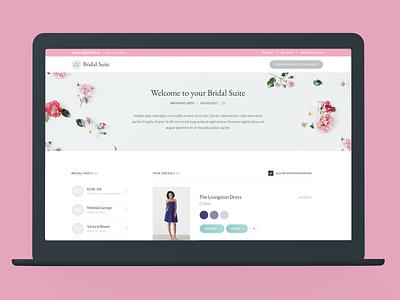 Bridal Suite: Bride Dashboard suite bridal experience design commerce ux design ux ui product ecommerce design