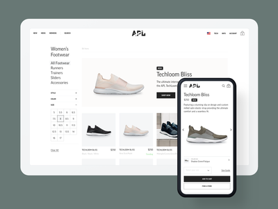 APL Collection + Product Pages storefront athleisure footwear shoe shop brand luxury shopify information architecture experience design commerce collection ux ux design ui ecommerce product design