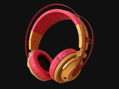 Headphones texturing animation design indie dev maya marmoset toolbag game dev low poly 3d game art audio headphone