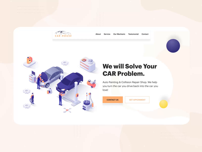 Car Service Landing Page Design car car landing page track illustration smart car texi service texi booking online service car online booking clean booking from service station webdesign service car wash automobile car service mantinance animation car animation