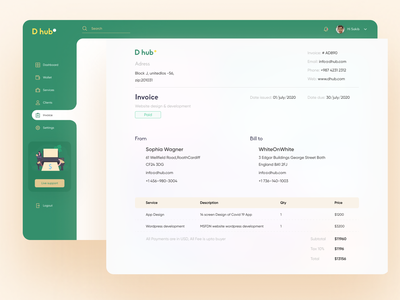 Invoice Page design salary colorful design clean ui managment app invoice page download invoice invoice preview invoice generator customer service send money send invoice statistics analysis design system deshboard design invoice template invoice invoice design payment app payment form