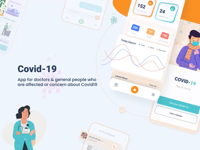 Covid 19 healthcare App chat app message coronavirus update medicale service online medical illustration statistic full presentation design systems pixency motion design presentation corna virus medical design app ui medical health care health app medical app animation