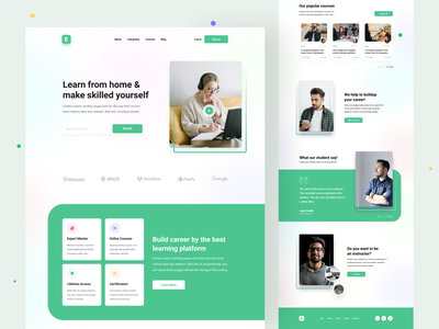 Online learning landing page tutor uxdesign uidesign e-learning website course website students learning platform graphic design learning online education online course landing page online class webdesign e-learning education landing page dribbble best shot education online learning ui