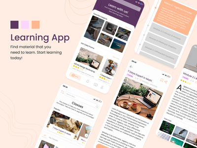 Learning Course Apps trend trendy design awesome design awesome education education app learning learning app ux design challenge apps ui design inspiration design app application ui