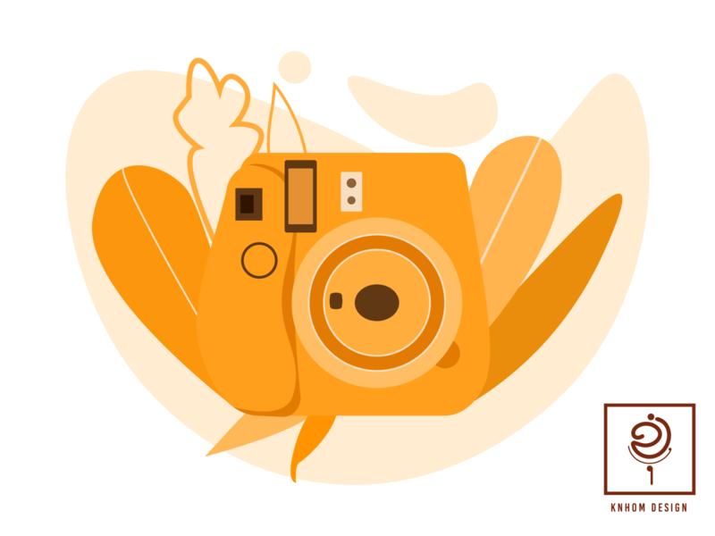 Camera khmer romdoul knhomdesign vector illustraion illustrator orange leaf camera flatdesign