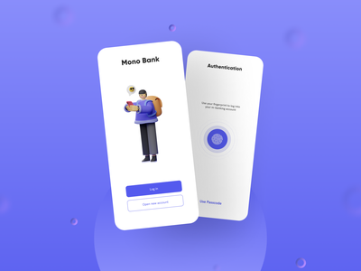 Mono Bank - Login Screen signup authentication fingerprint purple 3d animation 3d sign in login login screen bank app banking ui platform neat minimal illustration design clean ui clean design clean