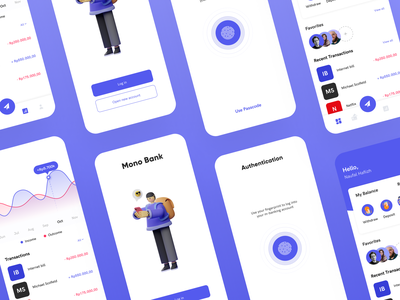 Mono Bank - Mobile Banking Apps Showcase bank mobile banking fingerprint passcode showcase money transfer transactions money app transfer dashboard ui dashboard banking app banking bank app neat minimal 3d clean design clean