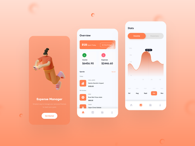 Expense Manager Apps stats money transfer home overview onboarding screen expense management expense manager expense tracker money management money app clean design bank app design 3d minimal clean