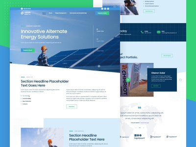 Landing Page: Green Energy Solutions Company solar energy solar panels website ux ui web design landing page firstshot