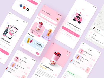 Drink Delivery App pink delivery drink mobile coffee ux ui