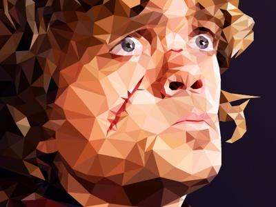 Tyrion - Low poly Game of Thrones red color 3d art character clean design minimal vector blue orange green