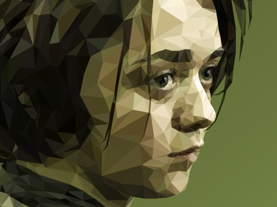 Arya Stark - Low poly Game of Thrones clean 3d art character color design minimal vector blue green low-poly polygon