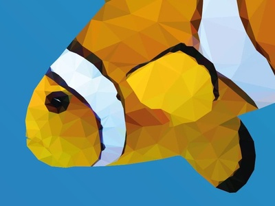 "More from ""Underwater Life"" design red orange illustration low-poly polygons ocean vector web design web blue clownfish"