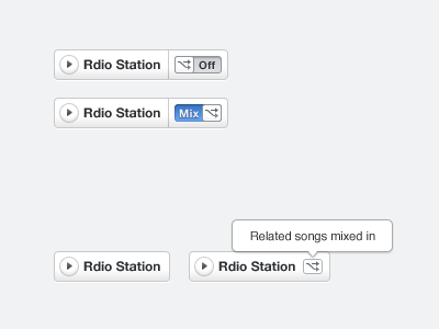 Rdio Station button toggle switch tooltip rdio