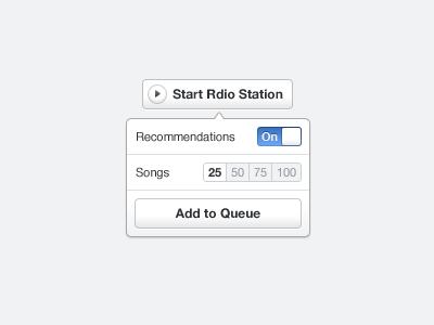 Rdio Station settings tooltip toggle settings popover rdio