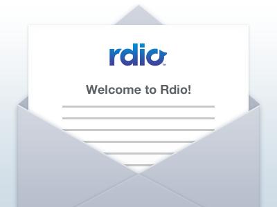 Welcome to Rdio! iphone 4 retina envelope illustration