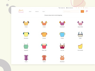 House of Blouse_Base Styles shopping products fashion design models website design customize revamp women blouse illustration branding agency