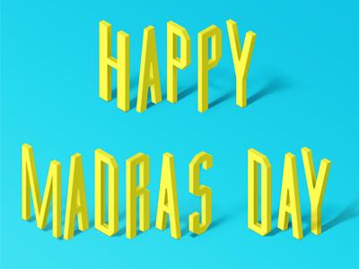 Madras Day madras day font blue isometric madras typography