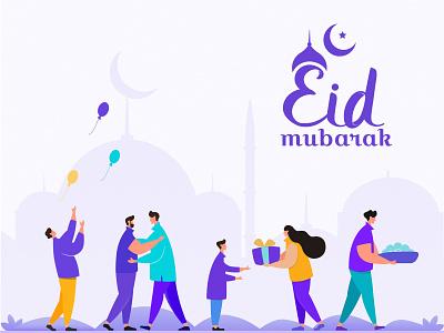 Eid Mubarak earth design ui illustration blue