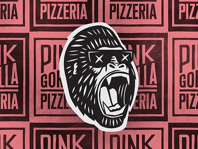 Pink Gorilla Pattern gorilla type identity logo typography vintage alberta edmonton pink texture pattern