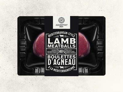 Sungold Packaging canada edmonton alberta lamb black and white typographic meatball concept packaging meat