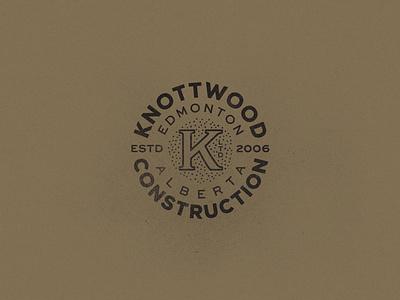 Knottwood Construction construction k vintage identity texture black logo canada alberta edmonton