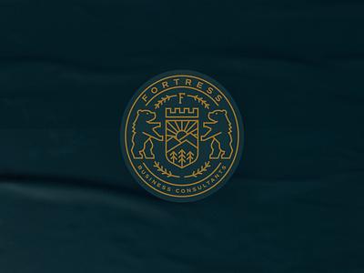 Fortress Business Consulting crest mountain bear badge illustration typography identity logo canada alberta edmonton