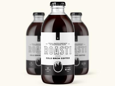 Roasti Cold Brew typography black canada alberta edmonton roast packaging cold brew coffee