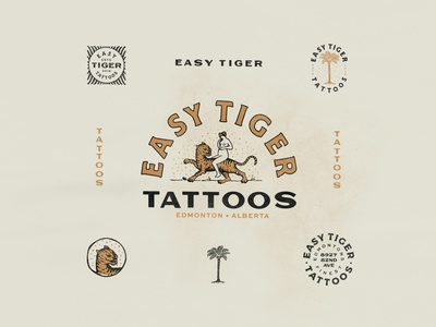 Easy Tiger Tattoo cat palm tree tiger lady tattoo typography canada texture vintage alberta edmonton brand