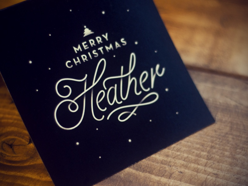 Christmas Card christmas holidays print design type winter texture custom vintage heather wood black card greeting snow dots script