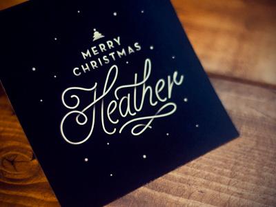 Christmas Card christmas holidays print design type winter texture custom vintage heather wood black card greeting snow dots script