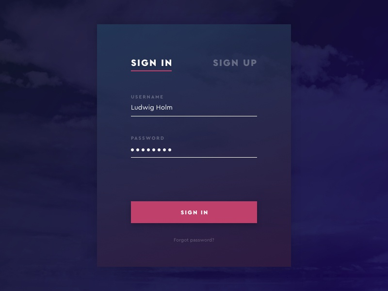 Daily UI #001 ui form signin login dailyui