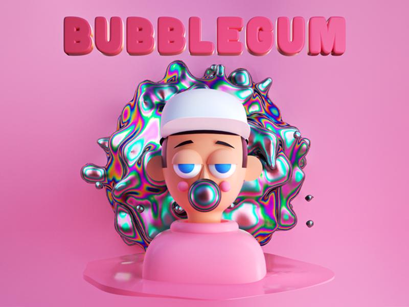 Bubblegum music album design illustration render graphic 3d octane render octane gum bubblegum character design maxon cinema 4d