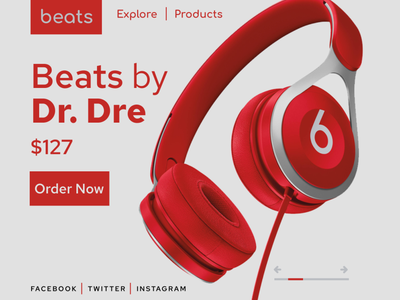 beats modern minimalistic simple cool order page hero section beats website design concept design web design user experience figma user interface freelance hire grey red headphone graphic design