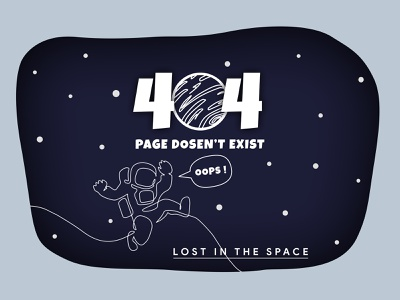 Lost in the space graphic design ui challenge 404 error 404 error page website design lost in space blue space concept web design design user interface user experience modern hire freelance figma concept design clean