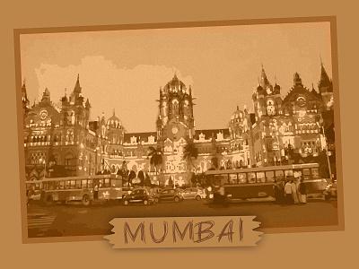 MUMBAI cartoon design railway station fashion old brown bombay mumbai retro hire freelance illustration graphic design