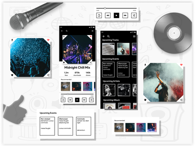 Music player user experience user interface music player music songs mobile design black white ui challenge black and white clean ui modern graphic design figma design concept design hire freelance
