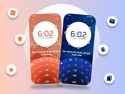 Alarm   Reminder ui challenge ux user interface reminder mobile design monochromatic orange blue simple clean clock alarm ui modern graphic design figma design concept design hire freelance