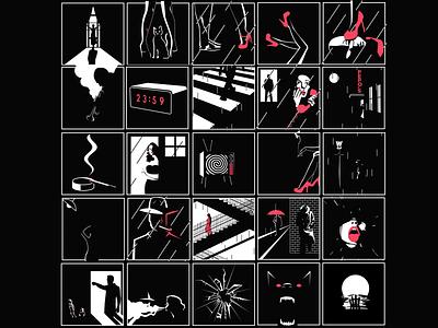 Repepoklouze - Noir noir filmnoir music downtempo lofi albumcover illustration character design