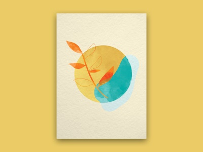 Minimalist Poster illustration art illustration design leaf illustration leaf design watercolor content creation design illustration