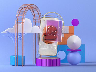 Work Out Time redshift glass phone could gold ui illustration design photoshop render cinema4d 3d
