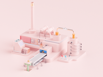 My ProFlow rendering illustration texture animate fabric wood factory pink ball branding octane render cinema4d 3d