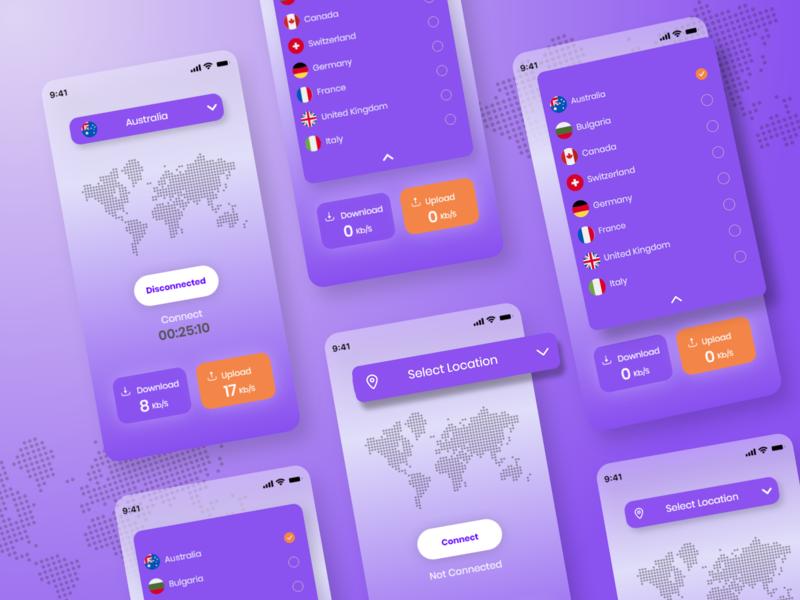 Vpn App vpn app vpn mobile app design mobile design mobile app mobile ui mobile app typography ux ui minimal design