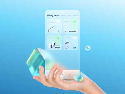 [Free 3D glass cube] Smart home dashboard in glassmorphism blender3d blender 3d smart home smarthome dashboad glassy glassmorphism glass ios app ui