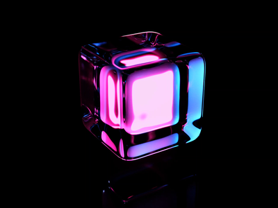 3D Crystal glowing cube render abstract glassy ice animation crystal cube blender3d blender 3d animation 3d art 3d